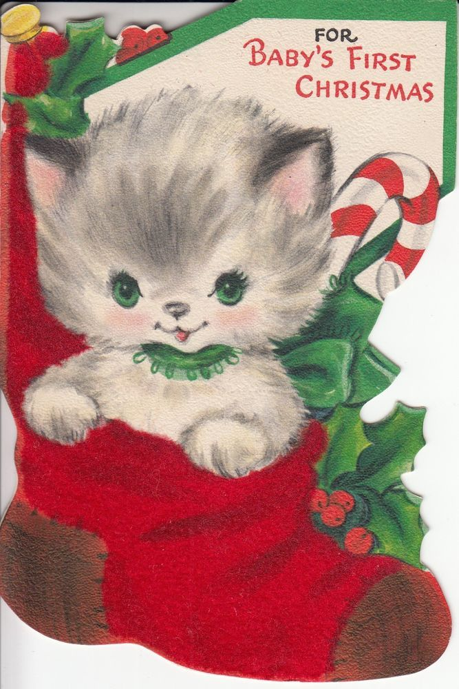 Cute Little Kitty Cat In Santa Stocking, Vintage Christmas Greeting Card!