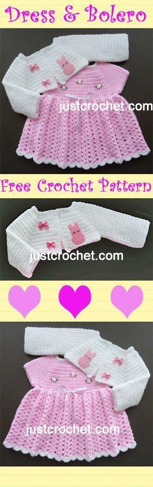Vestido de bebê adorável e bolero, padrão livre de crochê. #crochê