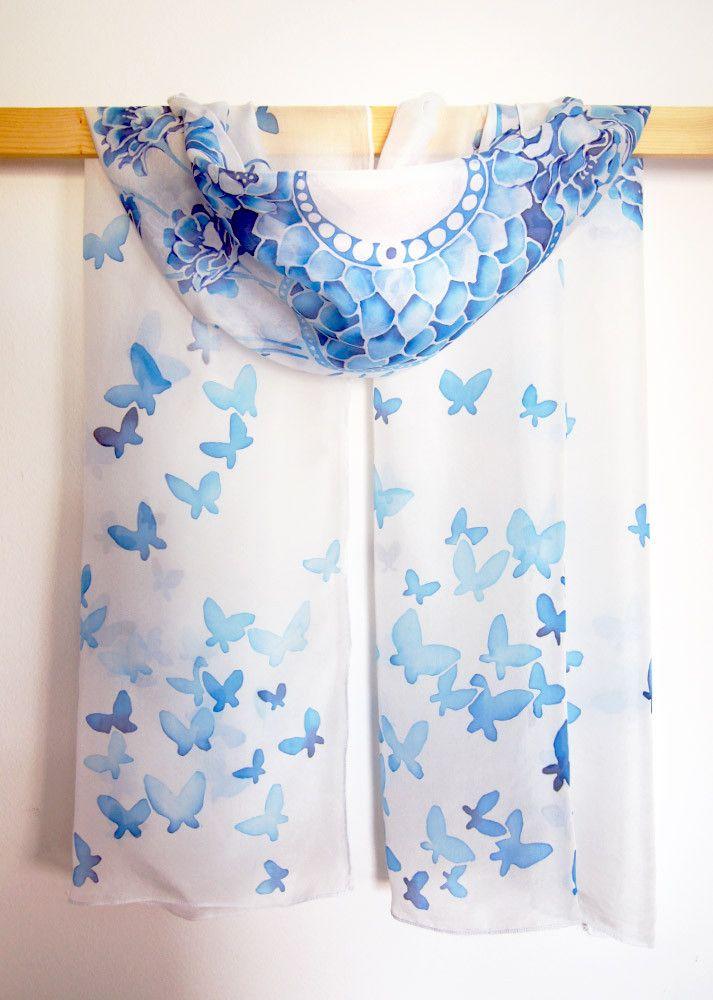Wedding silk scarf hand painted by Luiza Malinowska On Etsy: https://www.etsy.com/listing/208004208/silk-scarf-wedding-scarf-hand-painted?ref=listing-shop-header-1 #minkulul #silkscarf #wedding