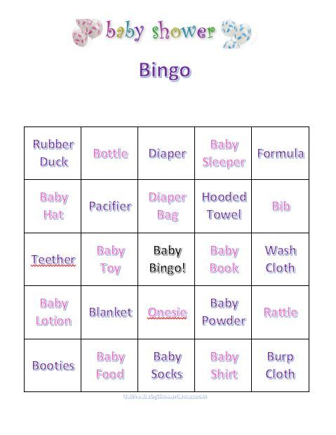 Baby Shower Games Bingo - write down baby items you think theyll recieve &when you get the first bingo you win a prize