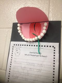 This lesson on dental health/the importance of flossing is great for Kindergarteners ...and yes those ARE mini-marshmallows!