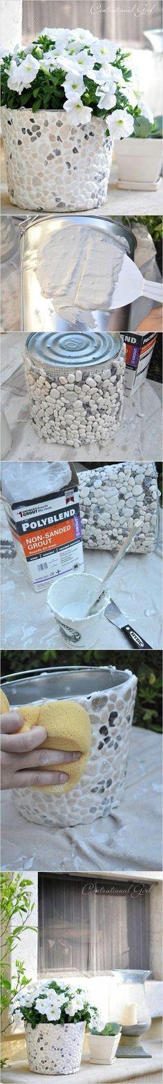 DIY Stone-Mosaic Flower Pot