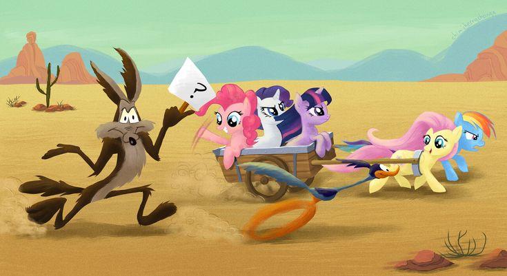 #38501 - artist:chimicherrychonga, cart, coyote, crossover, fluttershy, looney tunes, merrie melodies, pinkie pie, rainbow dash, rarity, road runner, running, safe, scene interpretation, the last roundup, twilight sparkle, wile e coyote - Derpibooru - My Little Pony: Friendship is Magic Imageboard