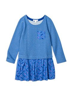 Girlswear Drop Waist Sweat Dress Star Blue -