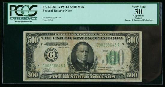 1934-A, $500 Federal Reserve Note. Mule. PCGS Apparent Very Fine 30 PCGS Currency notes that this $500 is stained. An affordable circulated $500. Estimated Value $650 - 750. #Banknotes #UnitedStates #MADonC