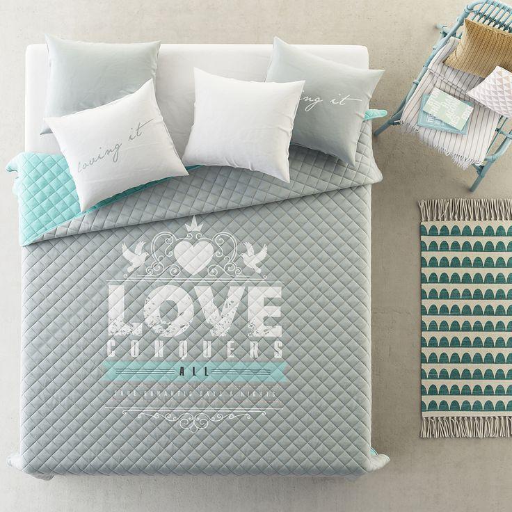 Luxusní přehoz na postel šedě mentolové barvy