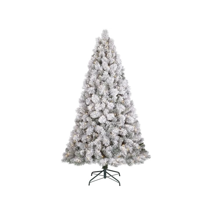 6.5ft Prelit Artificial Christmas Tree Flocked Douglas Fir Clear Lights - Wondershop, Green