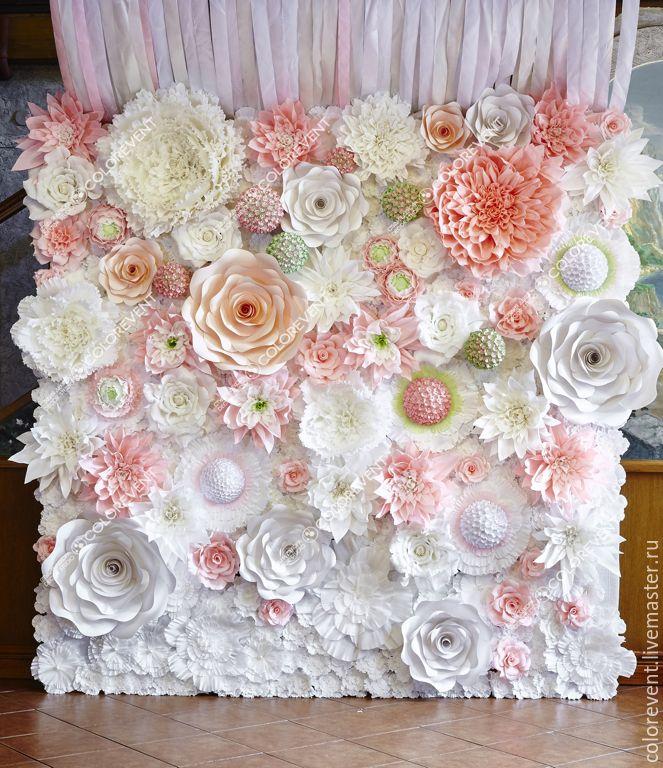 Купить Фотозона из бумажных цветов - бумажные цветы, фотозона, оформление свадьбы, свадебный декор, фотосессия