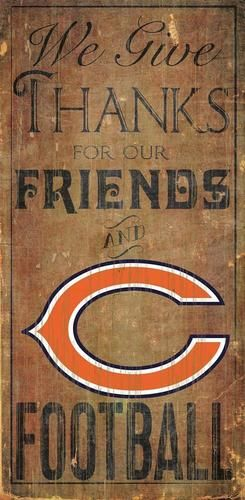 Chicago Bears Wood Sign We Give Thanks Wall Decor