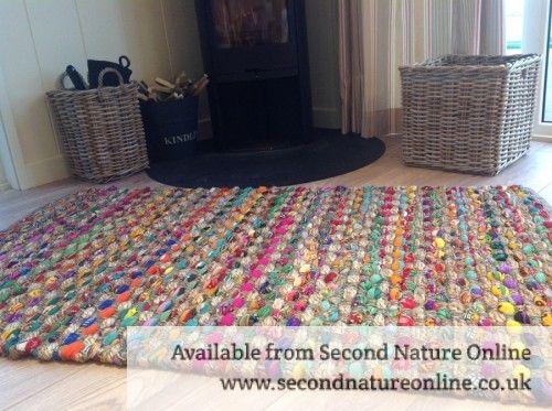 Fair Trade Thick Weave Slub Rag Rugs Multi Coloured 3 Sizes Available
