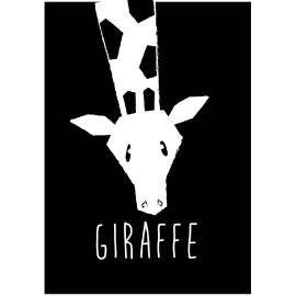 Deze dierenkaart in stoer zwart wit is niet alleen leuk om neer te zetten of aan de muur te hangen, maar natuurlijk ook om naar een kleine dierenvriend op te sturen! kaart giraffe decoratie kinderkamer babykamer