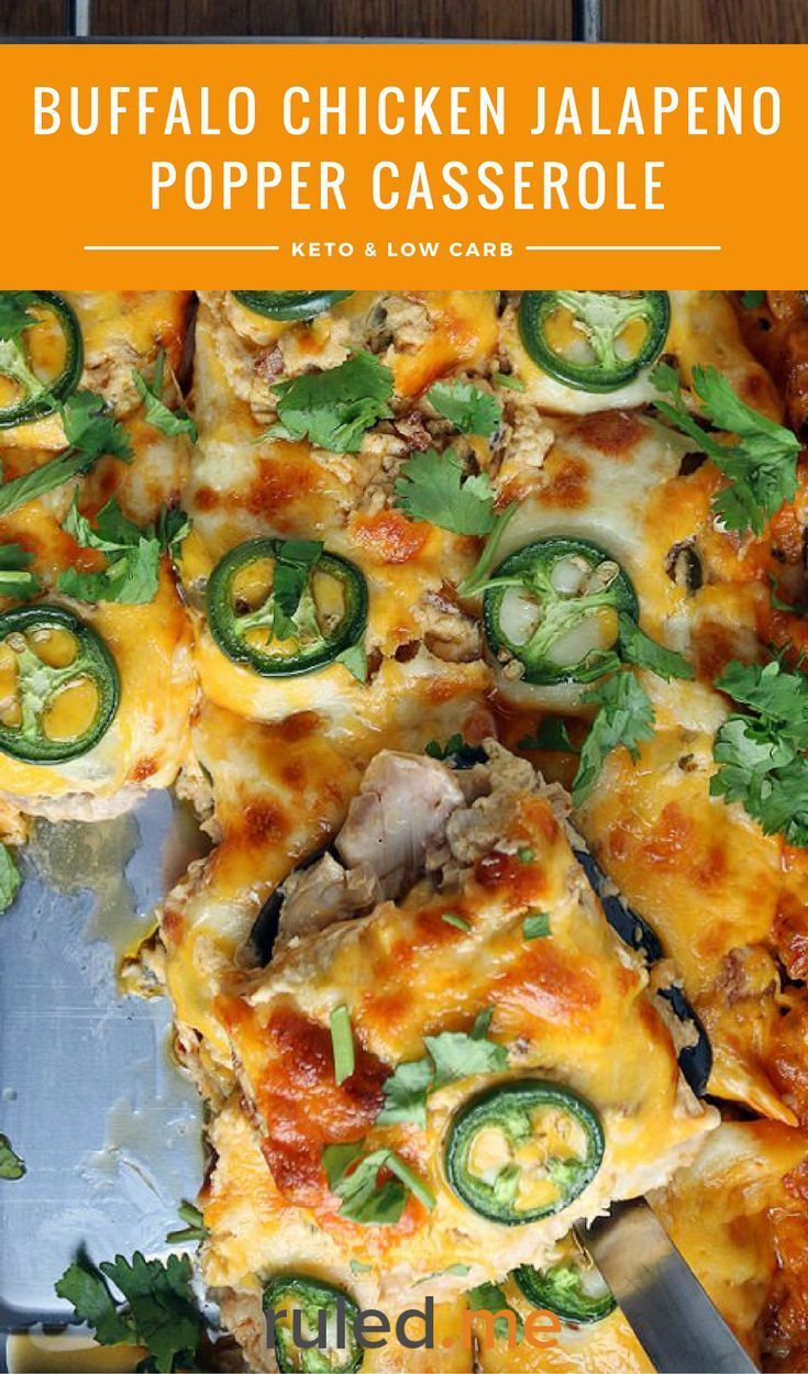 A keto buffalo chicken jalapeno popper casserole. This makes a perfect low carb meal! #ketodiet #ketorecipes #ketogenicdiet