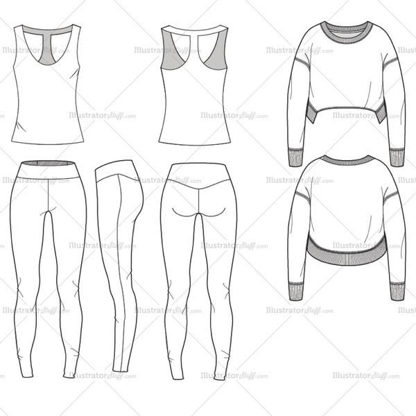 Fashion Flat Vector Template Yoga Set Include Top Leggings And Sweater Sports Fashion Design Fashion Design Jobs Fashion Drawing