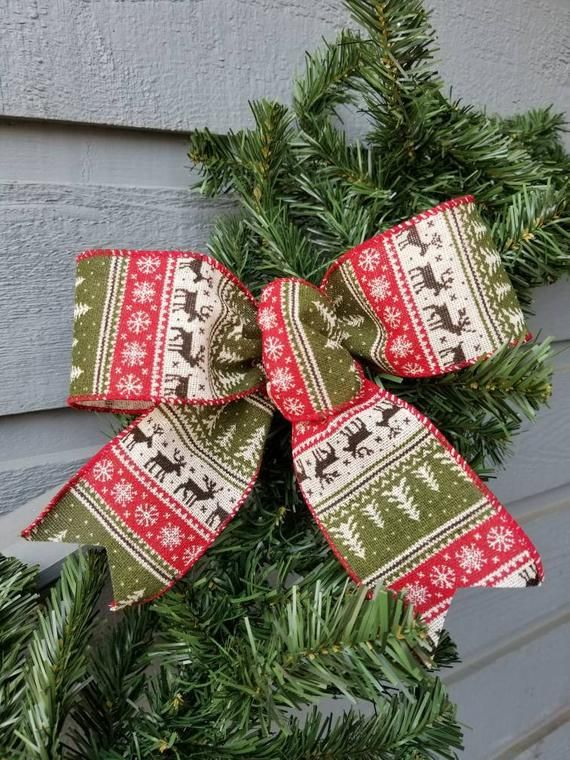 Rustic Wired Christmas Sweater Bows Set Of 4 Christmas Bows Etsy Christmas Tree Bows Christmas Bows Christmas Tree Topper Bow