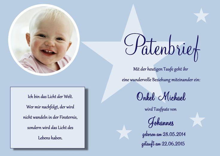 Patenbrief für die Taufpaten Taufe DIN A4 o. A5 Patenschein Kirche Urkunde Pate