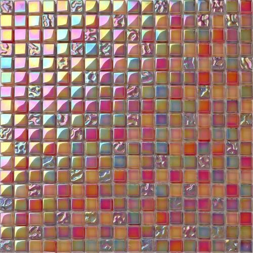 30x30cm Red Orange Iridescent Glass Mosaic Tiles Sheet (MT0099)