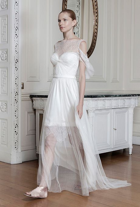 "Brides.com: Sophia Kokosalaki - Spring/Summer 2014 ""Neda"" short sleeve silk wedding suit with a high neckline, Sophia KokosalakiPhoto: Courtesy of Sophia Kokosalaki"