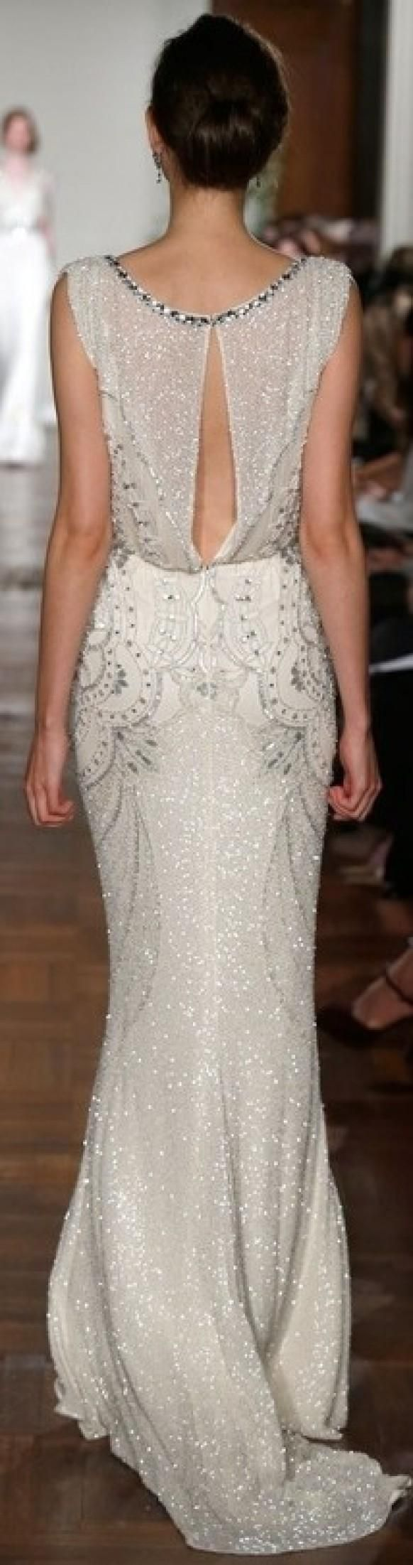 Vintage yet modern wedding dress with beading and deco vibe