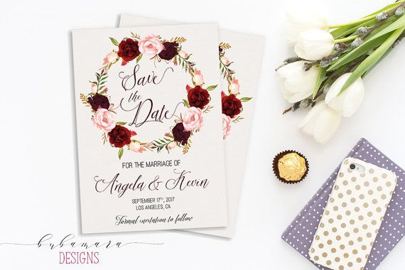 Printable Marsala Wedding Save the Date by BubamaraDesigns on Etsy