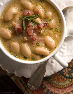 Tuscan White Bean Soup with Pancetta & Rosemary