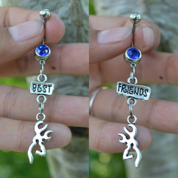 Country Best Friends Belly Ring Set (Gun or buck charm) Length: about 1.5 inches