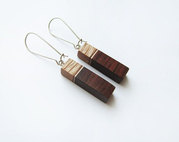 Wooden earrings natural palisander wood ash by forEVAhairforks
