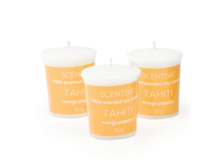 TAHITI (Mango Papaya) - Triple scented soy votive candles by Scentsia // Escape to a Tahitian tropical oasis with a hypnotic blend of luscious mango and delicious papaya layered with juicy pineapple