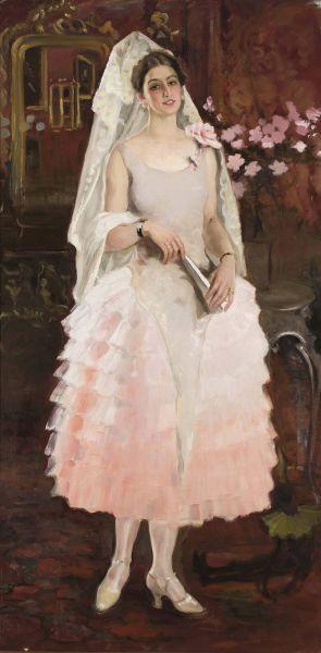 Portret damy w różowej sukni - Hiszpanka - Kazimierz Stabrowski