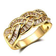 Geweven ontwerp Stijl Vrouwen CZ Party Mode Goud-kleur Bridal Wedding band Sieraden AAA kwaliteit Cubic Zirkoon Instelling steen ringen(Hong Kong)