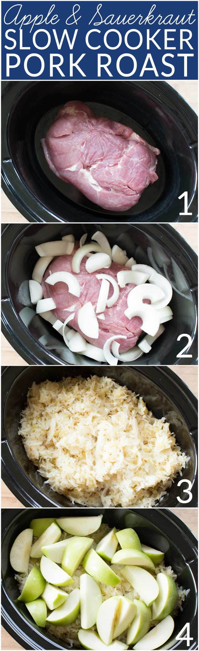 This easy recipe combines apples, pork roast and sauerkraut in the crock pot for a tasty dinner that takes just minutes to prepare. My family loves it for the t