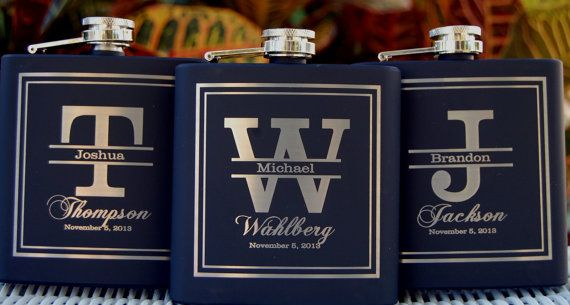 Personalized Groomsmen Gifts, Custom Engraved Flasks, 12 Mens Wedding Favors, Stainless Flask Gifts