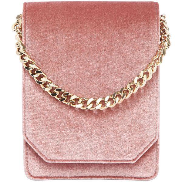 Cafuné Women Bellows Velvet Shoulder Bag (£435) ❤ liked on Polyvore featuring bags, handbags, shoulder bags, pink, purses, shoulder strap bags, velvet purse, red shoulder handbags, pink purse and shoulder strap handbags