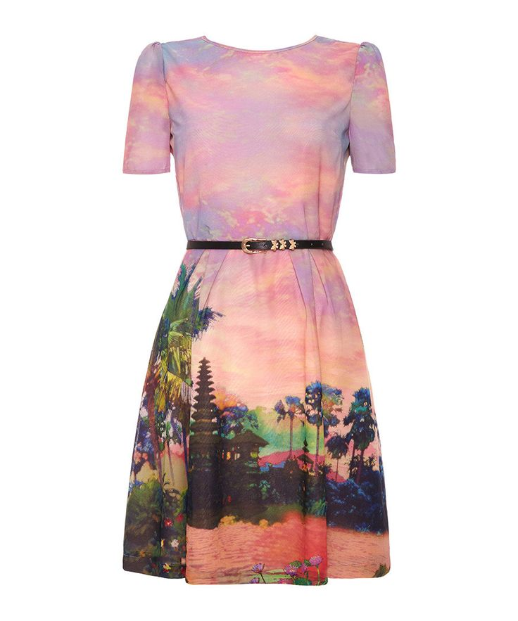 Pink short sleeve A-line dress by Uttam Boutique on secretsales.com