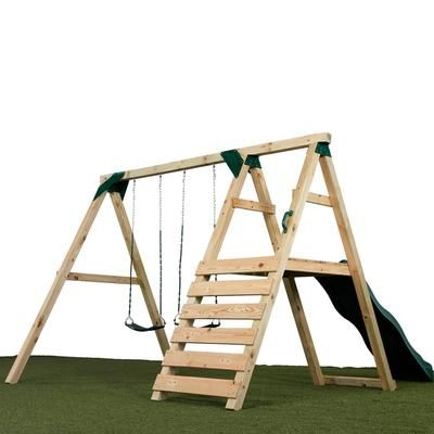 "This will be the basic shape: Three ""A"" frame, swings, climbing wall and slide. We will beef it up quite a bit!!"