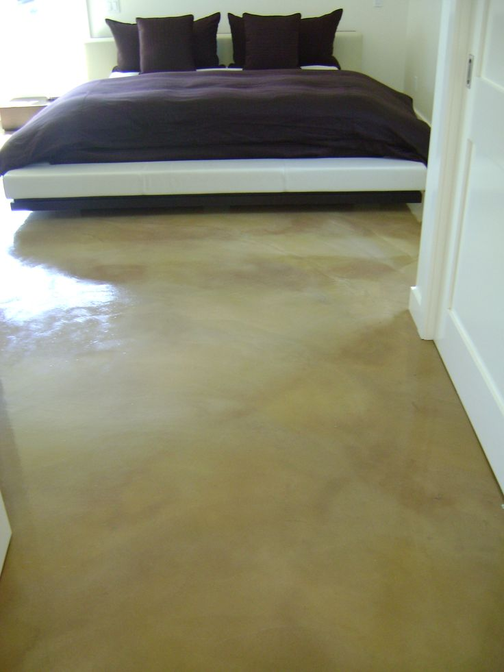 Bedroom, Concrete stain, custom stained floors