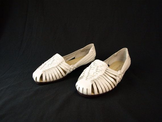 Vintage 80s Women S White Woven Leather Huarache Sandals