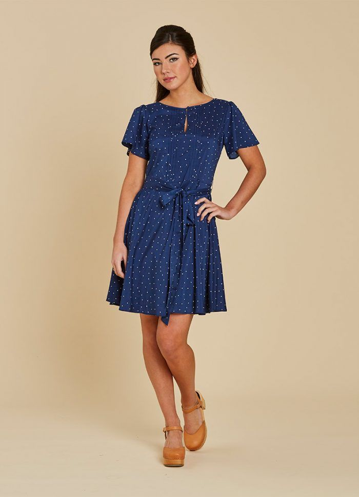 e5863518ceb Celia Polka Dot Tea Dress – Navy