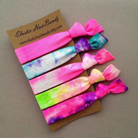 The Cotton Candy Tie Dye Hair Tie Collection - 5 Elastic Hair Ties by Elastic Hair Bandz on Etsy
