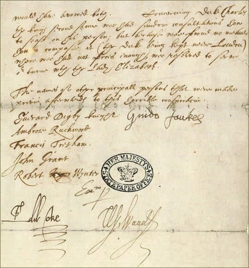 The confession of Guy Fawkes (UK National Archives)