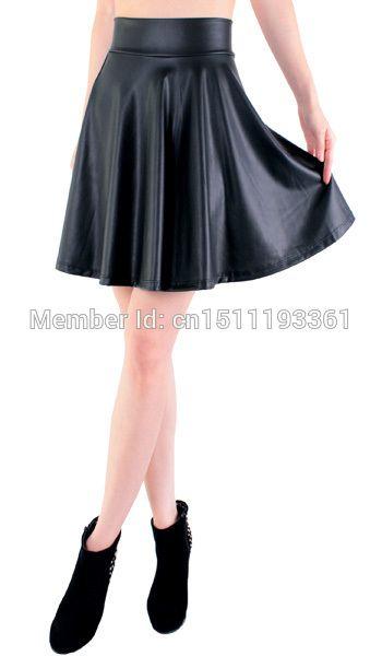 Envío de la nueva alta cintura flare falda skater mini falda por encima de la rodilla de cuero de imitación de color sólido de la falda s/m/l/xl