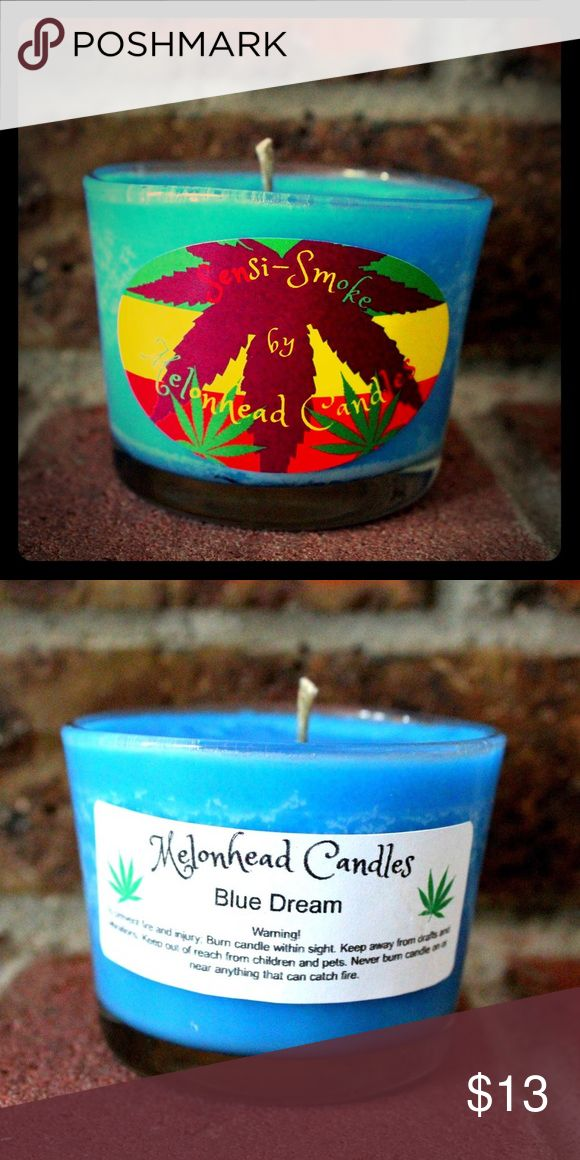 Sensi-Smoke - Blue Dream - 4oz. Soy Candle Blue Dream - Bursting Blueberry/berry heavenly sweet mix. Melonhead Candle's Sensi-smoke candles are created 100% Soy wax and a mix of several scents to replicate each strain. I hand pour every candle into recycled/repurposed glasses and bottle, making every one uniquely one of a kind. Hemp wicks are used in every candle for a cleaner burn. Sorry guys, these candles won't get you high, but they will make your house smell like your danky go-to…
