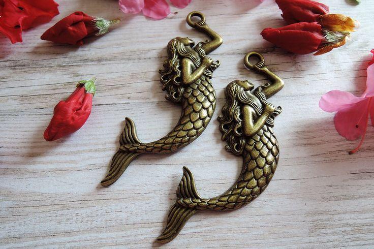 Elfen - Zeemeermin antieke brons bedel hanger sieraden  - Een uniek product van francois2017 op DaWanda