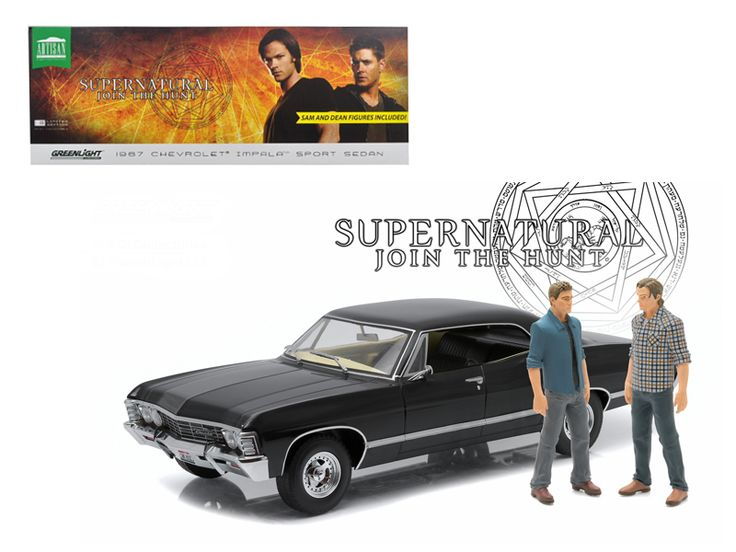 "1967 Chevrolet Impala Sport Sedan with Sam and Dean Figures ""Supernatural"" (TV Series 2005 ) 1/18 Diecast Model Car by Greenlight - Brand new 1:18 scale diecast car model of 1967 Chevrolet Impala Sport Sedan with Sam and Dean Figures ""Supernatural"" (TV Series 2005 ) die cast car model by Greenlight. Customized, movie themed packaging. Limited Edition 1:18 combo release. True-to-scale detail. Serialized chassis. Brand new box. Rubber tires. Made of diecast metal. Does not have any openings…"