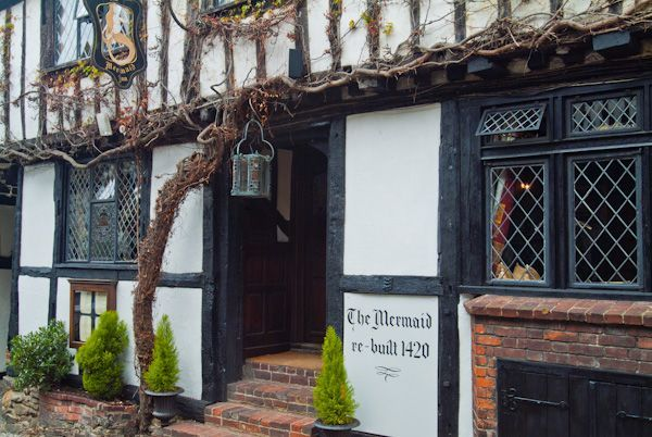The Mermaid dates waaaay back. I beleive there was in fire in some areas of the building so it was RE-built in 1420. A must visit if you get to Rye, Sussex, England. The Mermaid is still a fully functioning, pub, restaurant and hotel.