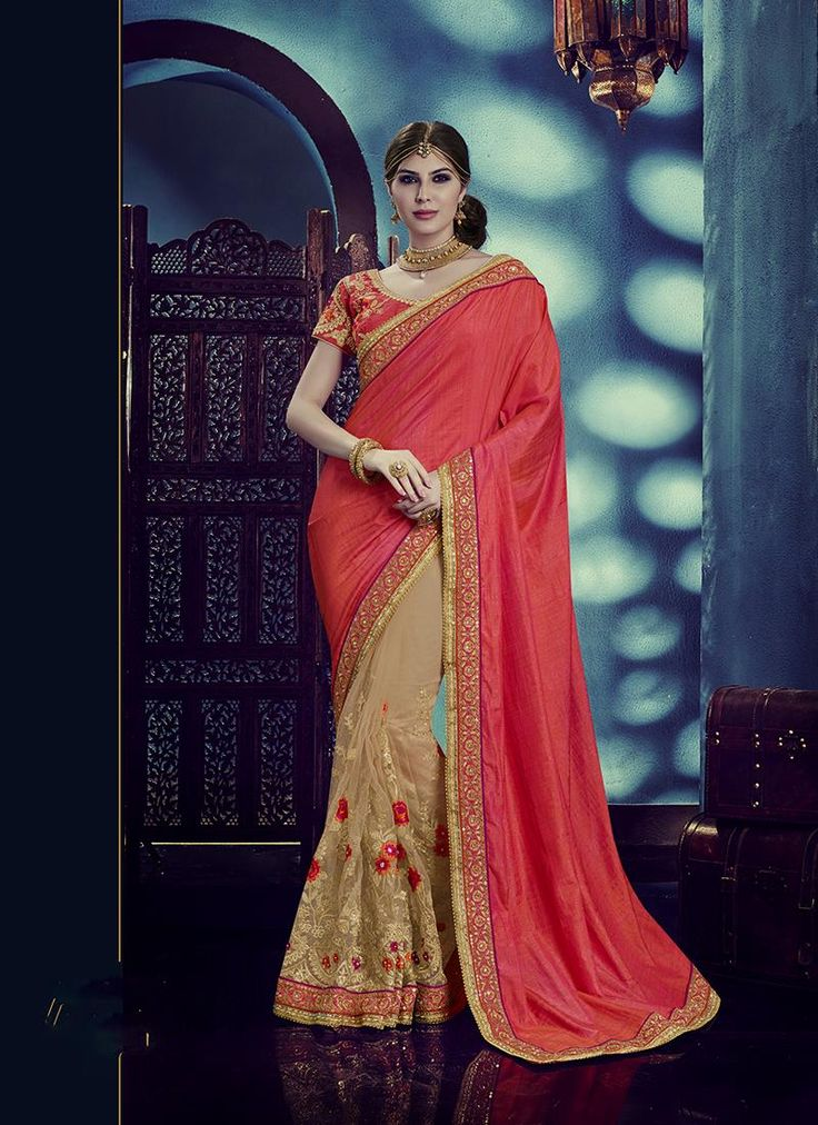Our online shopping store has the widest range of rich indian sarees. Grab this net and silk beige and pink classic designer saree for festival and wedding.