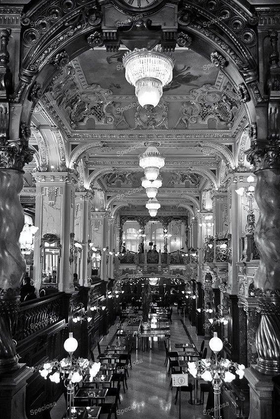 Zwart-Wit foto, Budapest, Hongarije, Café New York, Kunstdruk, Art Nouveau Restaurant, New York Kávéház, Koffiehuis, belle-epoque
