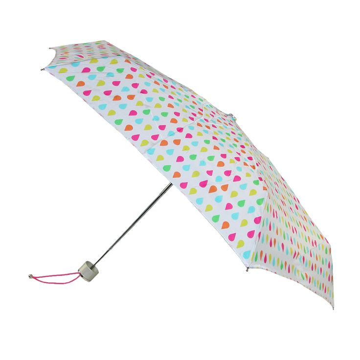 Totes Manual Mini White Rain Print Travel Compact Umbrella