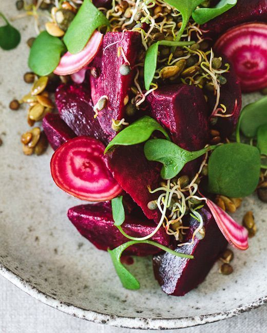 Fresh and Delicious Beetroot Salad with Lentil Sprouts