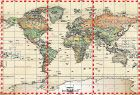 Antique Oceans World Political Map Wall Mural - Miller Projection