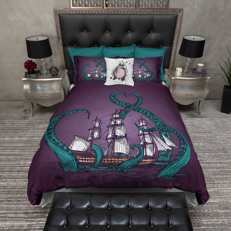 Teal Tentacle Purple Octopus Kraken Ship Duvet Bedding Sets